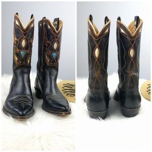 ACME Shoes - Vintage 50s Acme Boots Metallic Gold Inlay Bull 6
